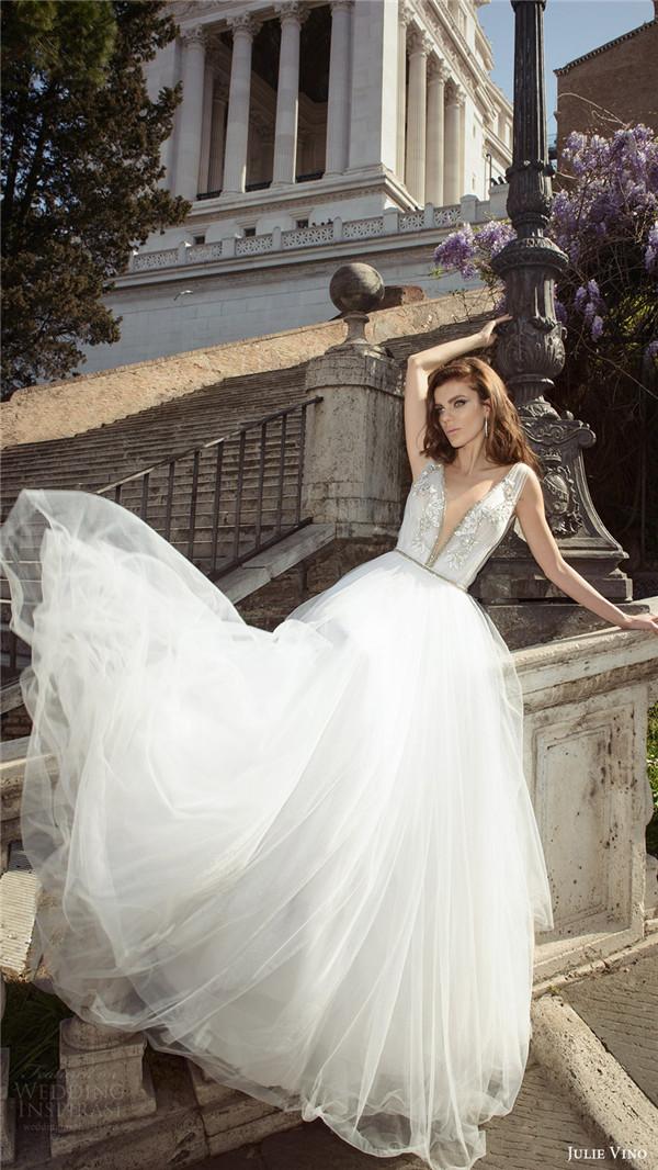 julie vino bridal spring 2017 sleeveless vneck ball gown wedding dress marcella mv