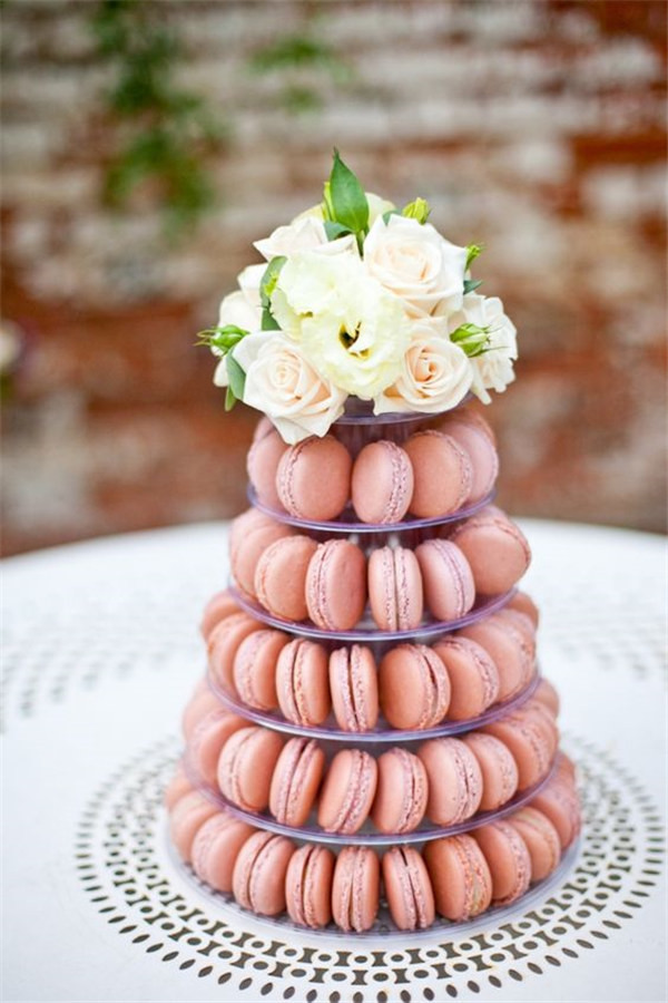 peach macaron tower wedding for a dessert