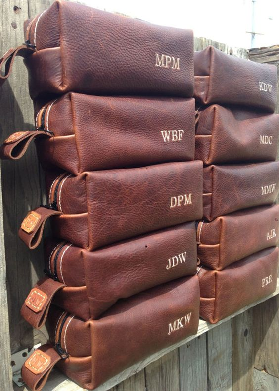 personalized leather dopp kits - every man needs one and these are rugged and elegant at once