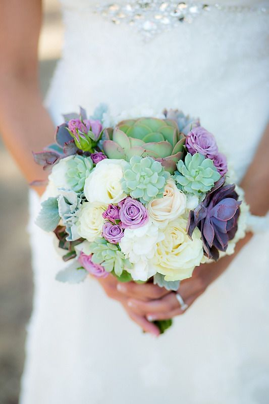 purple cream wedding bouquet