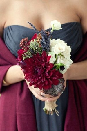 small burgundy wedding bouquet