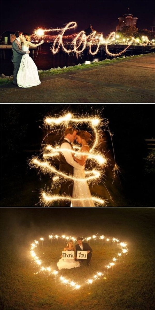 wedding sparklers a very romantic addition to your night wedding photo