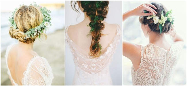 18 wedding updo hairstyles with greenery decorations junglespirit Images