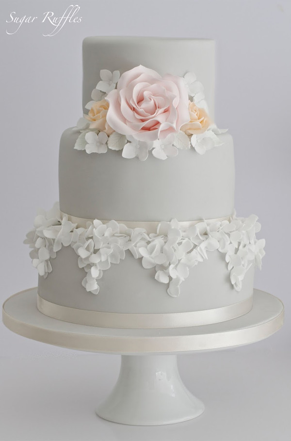 3-tier grey patal wedding cakes