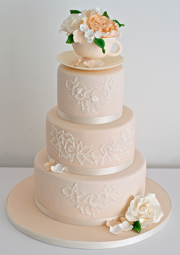 3-tier peach wedding cake ideas