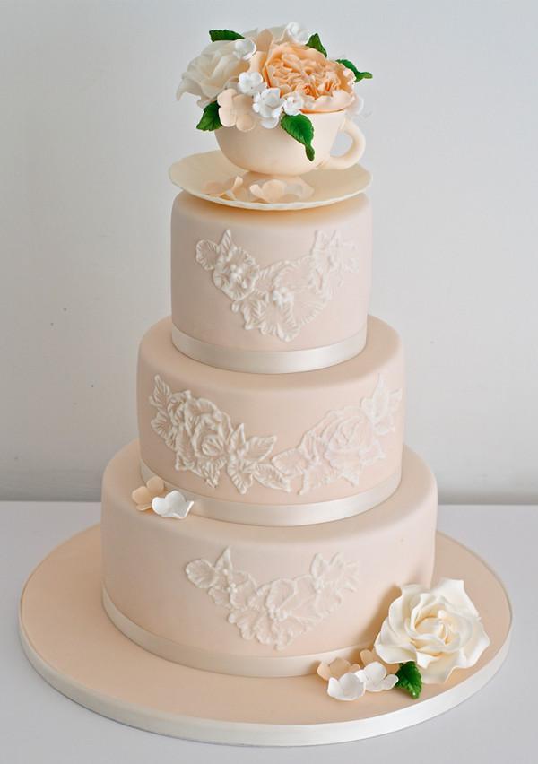 3-tier peach wedding cake ideas
