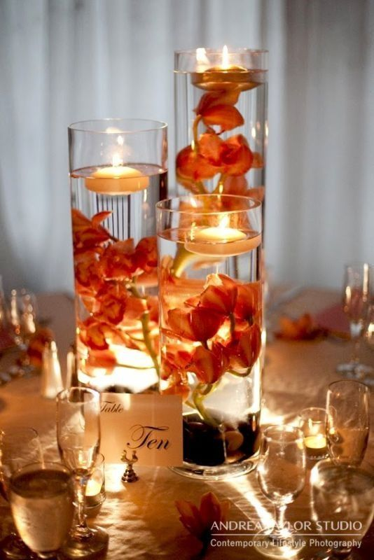 Autumn flowers tall vase floating candle-- Gorgeous warm centerpieces