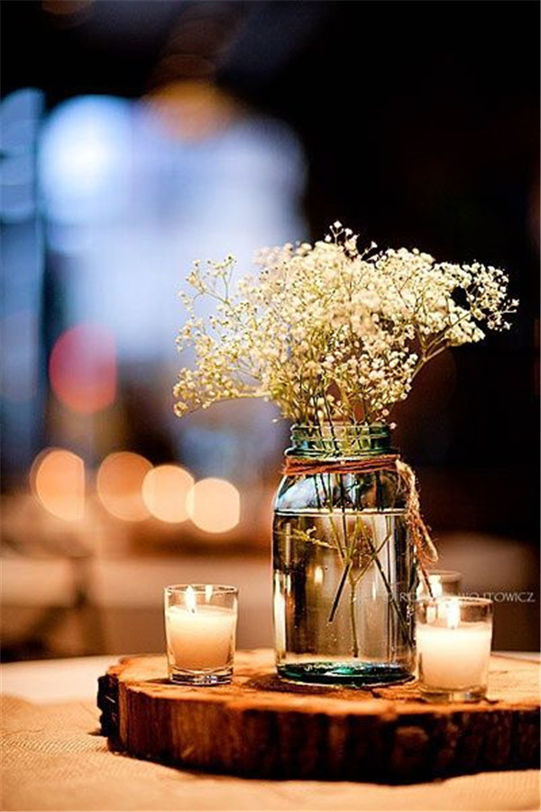 Baby's Breath and Mason jar Simple and beautiful