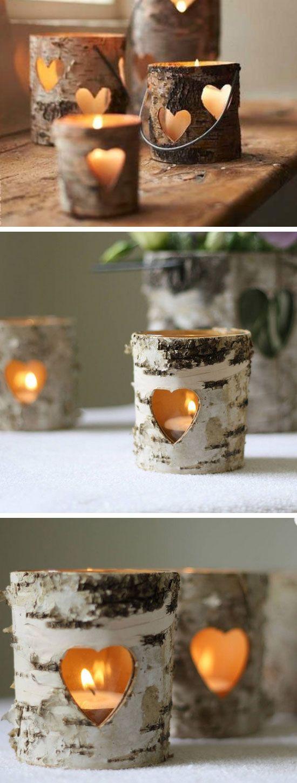 Bark Heart Lanterns DIY fall Wedding Ideas on a Budget