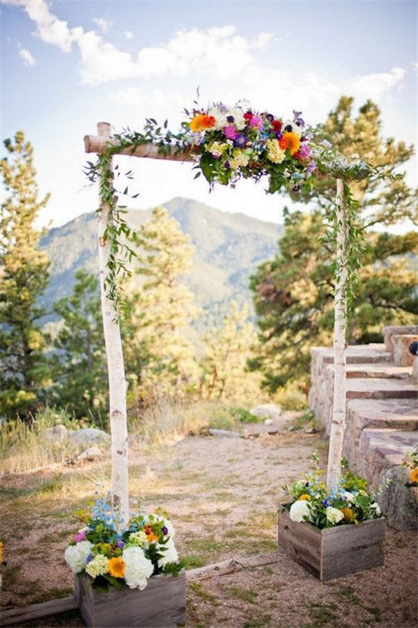 20 diy floral wedding arch decoration ideas beautiful birch poles create a gorgeous rustic wedding arch junglespirit Images