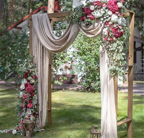 20 diy floral wedding arch decoration ideas beautiful wedding ceremony backdrop arbor with draping flowers and lantern accents junglespirit Gallery