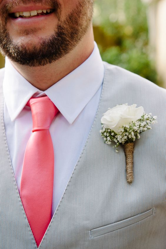 Boutonniere Baby's Breath for Rustic Chic Weddings