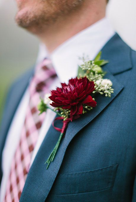 Boutonnieres for Fall Wedding- Boutonniere with Burgundy Dahlia and Seeded Eucalyptus