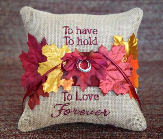 Burlap Fall Metallic Leaves Autumn Wedding Ring Bearer Pillow