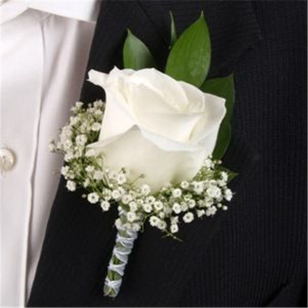 Classic Rose White Boutonniere and baby's breath