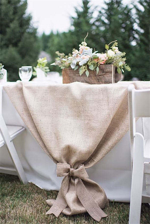 Creative Burlap wedding table runner ideas For all tables or just the wedding party tables