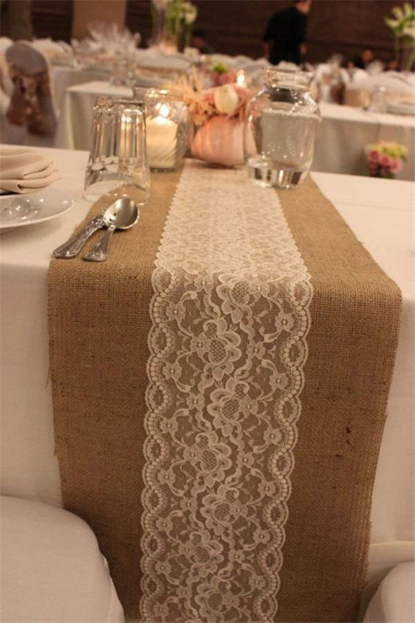 DIY Burlap and Lace Table Runners