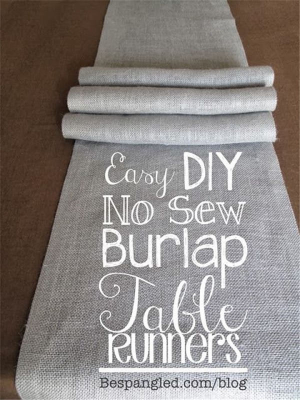 Easy No-Sew Burlap Table Runners