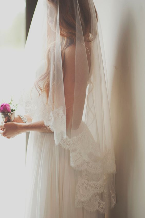 Ethereal Lace Edged Bridal Veil By Ellie Asher Photo