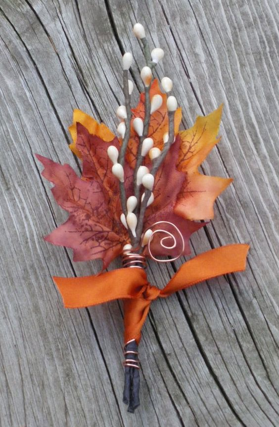 Fall Wedding Boutonniere Maple & Twigs by TellableDesign