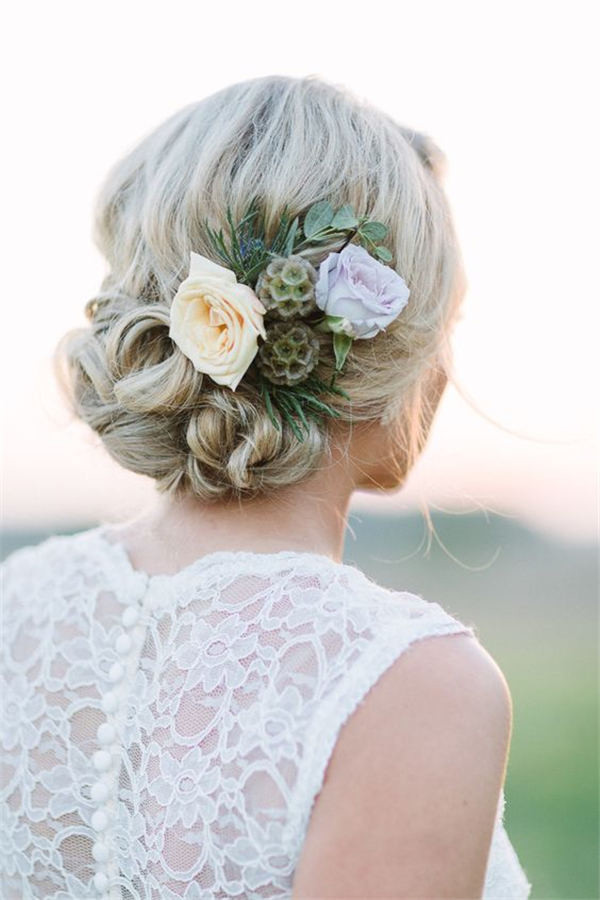 Bridal Updo Flower : Wedding updo hairstyles with greenery decorations