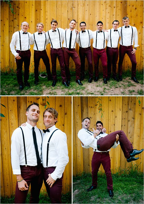Fun groomsmen ideas with suspenders and bow ties