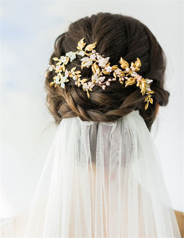 Gold beaded bridal headpiece