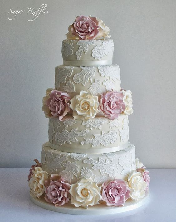 Gorgeous Lace Wedding Cakes by Sugar Ruffles