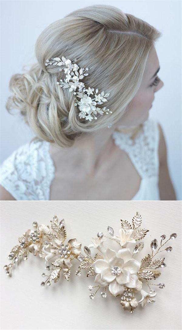 Gorgeous gold bridal comb with ivory flower petals and gold leaves