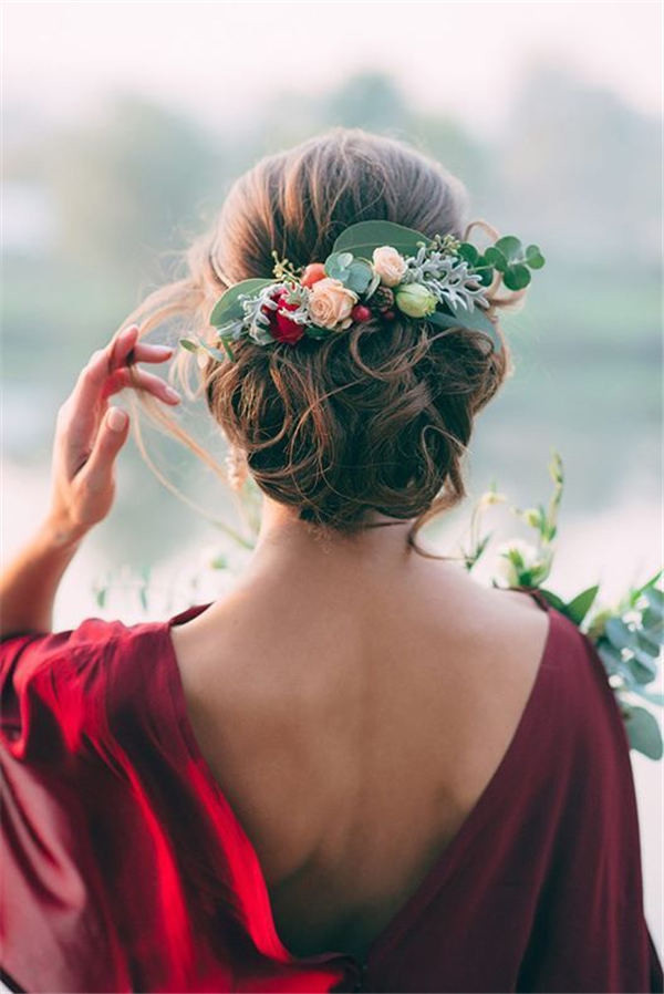 18 wedding updo hairstyles with greenery decorations greenery and floral adorned wedding hair updo junglespirit Choice Image
