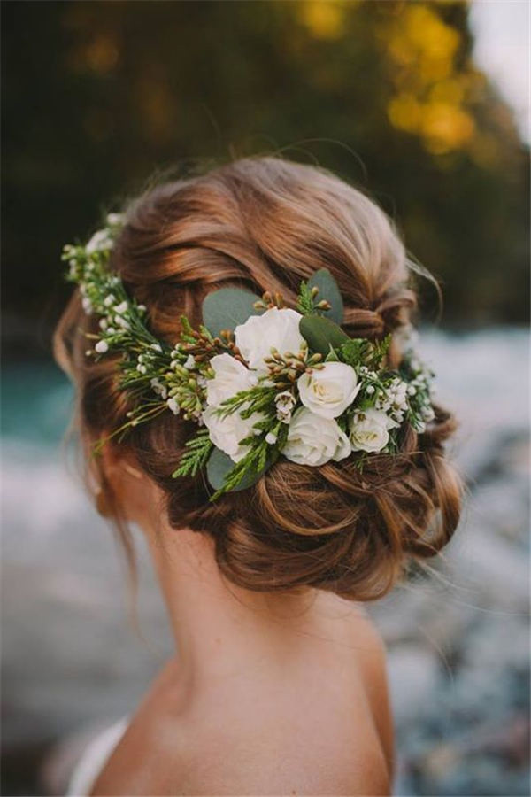 18 wedding updo hairstyles with greenery decorations greenery wedding updo hairstyles junglespirit Images