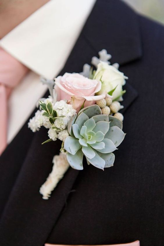 Grooms rose Boutonniere - Roses and Succulent pink green vintage wedding photo by Heart Box Wedding