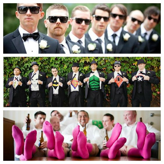 Groomsmen photo ideas. I like the superheroes picture