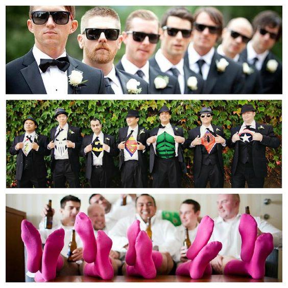 Groomsmen photo ideas. I like the superheroes picture