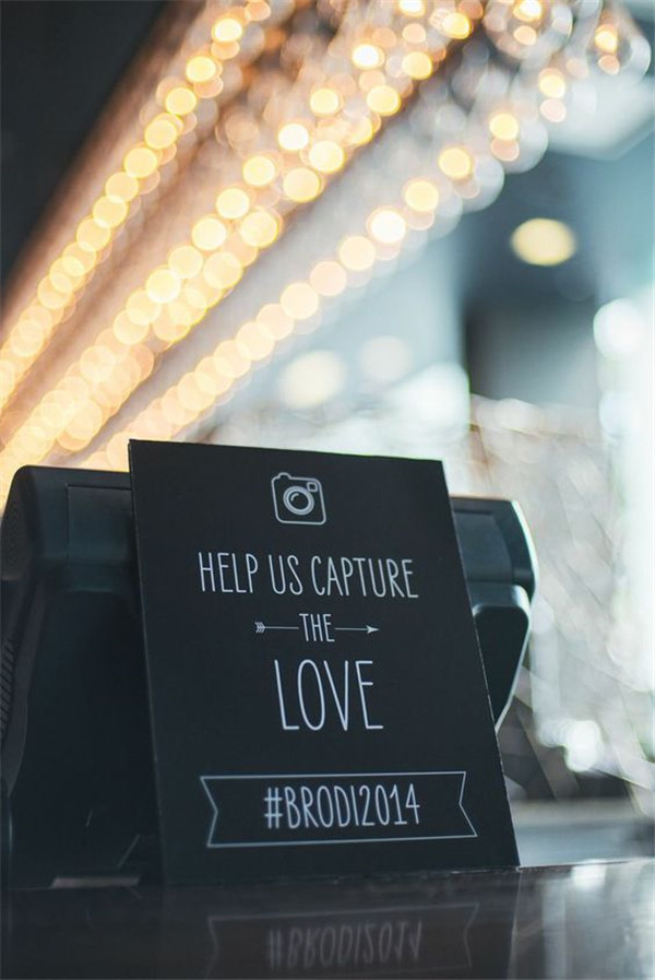 Instagram sign for at your wedding hashtag ideas