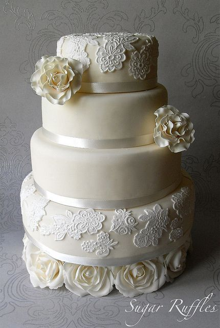 Ivory Roses and Lace Wedding Cake If you can dream it Skyline Pastry Chef can make it