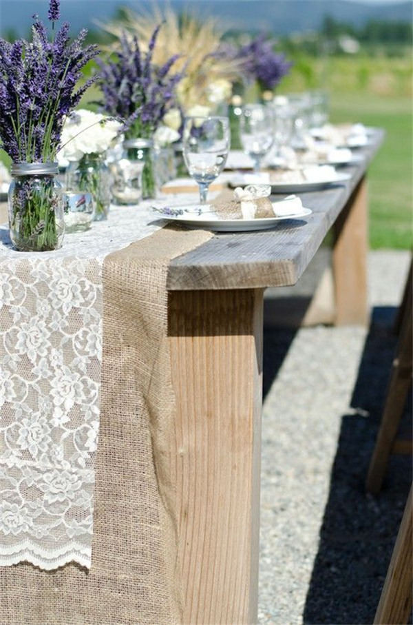 Lavender lace burlap wedding decor ideas