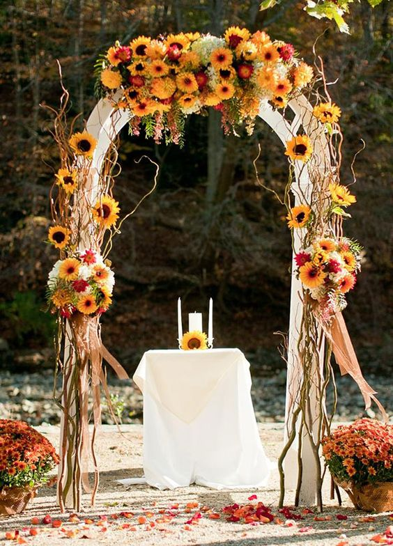 Looking for some inspiration for your autumn wedding - Falll wedding arch ideas