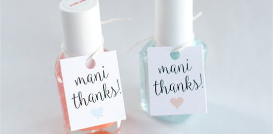 Mani Thanks Custom Bridal Shower Favor Tags by theglitterpress