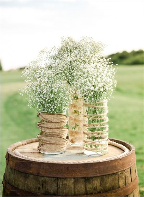 Rustically romantic wedding with baby's breath decor