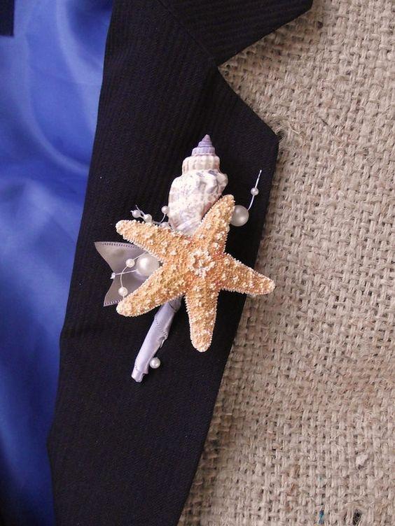 Sea shell boutonniere beach wedding boutonniere by UptownGirlzz