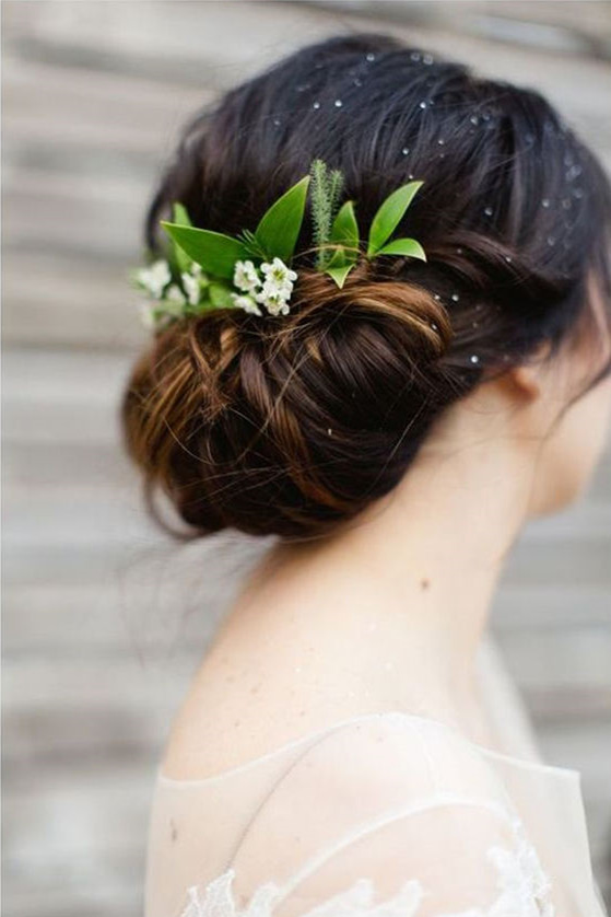 18 wedding updo hairstyles with greenery decorations splendid greenery wedding hair updo junglespirit Images