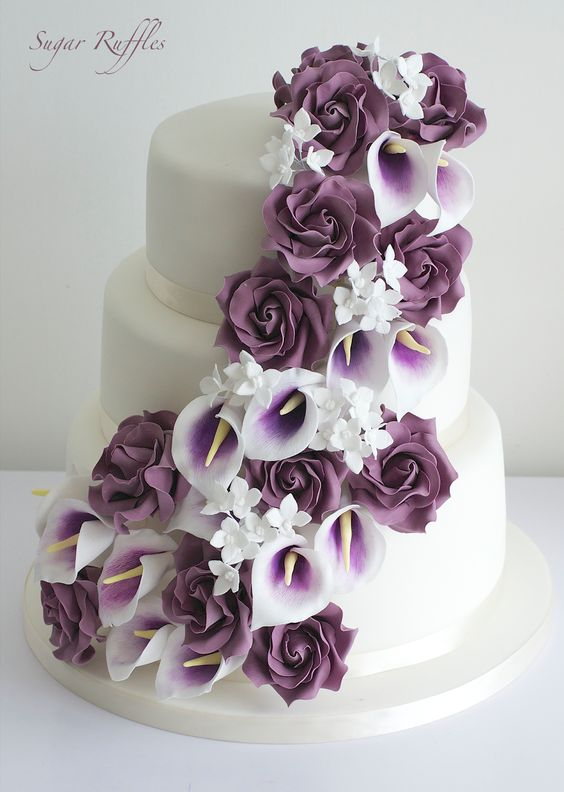 Sugar Ruffles Wedding cake with purple cascading sugar flowers
