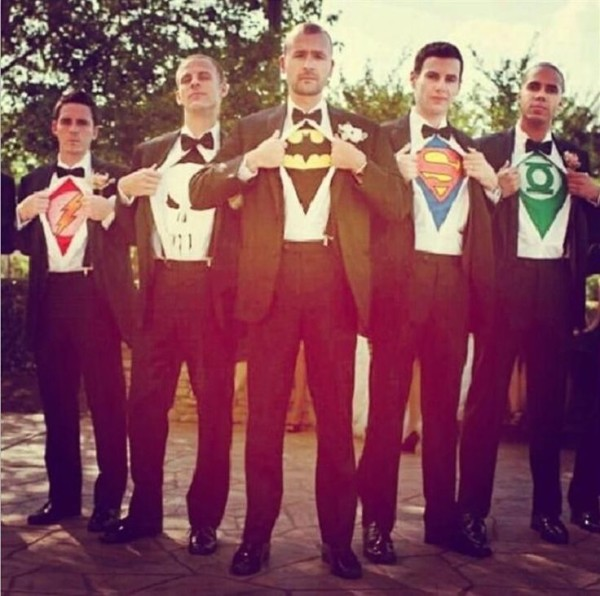 Super hero groomsmen photo ideas