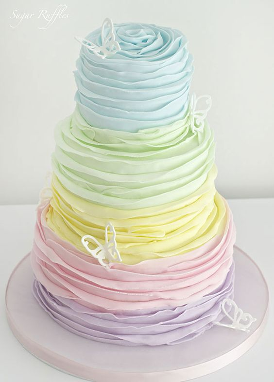 Tiers of ruffled pastel perfection are the stuff wedding cake dreams are made of spring wedding ideas