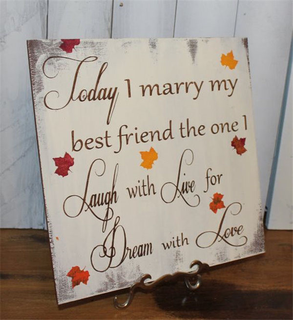 Today I Marry My Best Friend Fall Leaves Wedding Sign Ideas