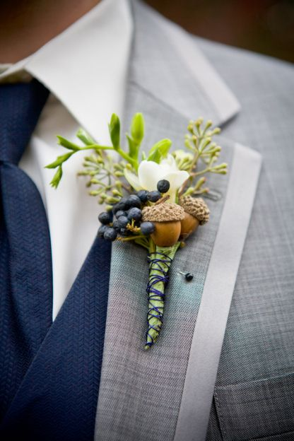 Unique Green and Blue Boutonnieres