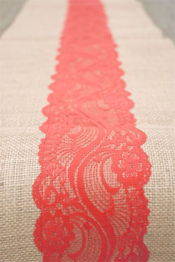 Wedding table runner with Coral lace