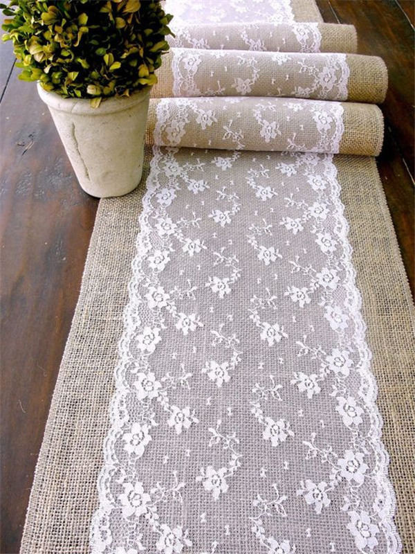 Wedding Table Runner With Lace For Rustic Chic Wedding