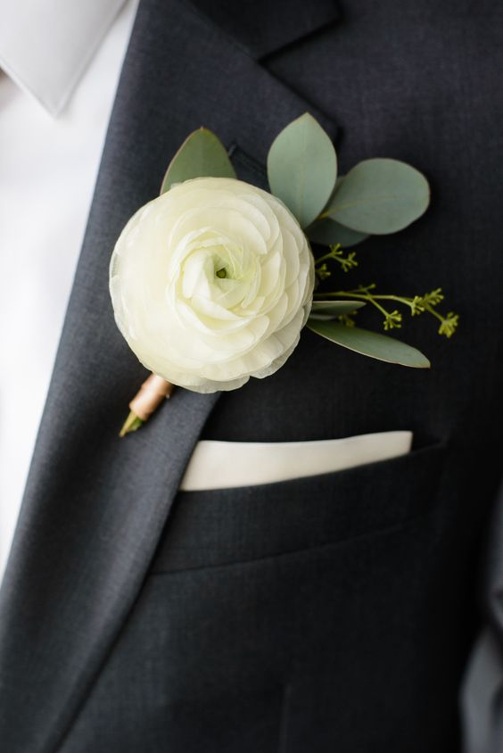 White Ranunculus and Seeded Eucalyptus boutonniere